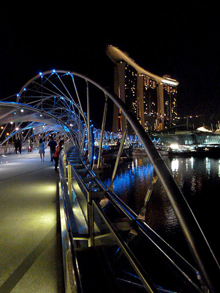 The Helix Bridge at Marina Bay in Singapore.