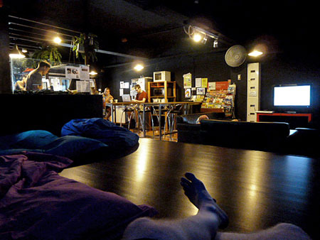 The chill out area at the Inn Crowd hostel in Little India, Singapore.