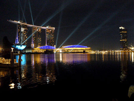 The grand opening of the Marina Bay Sands in downtown Singapore.