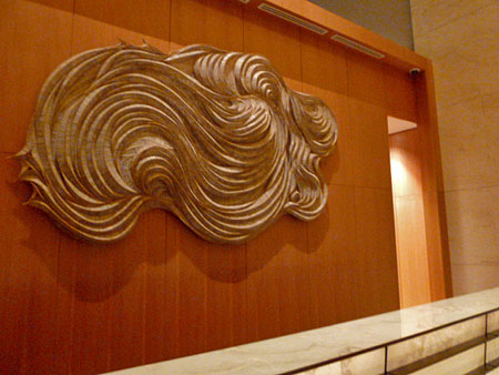 Some frilly art in the Marina Bay Sands lobby in Singapore.