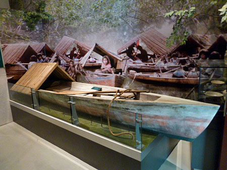 A display of a seafaring vessel at the Malay Heritage Museum in Kampung Glam, Singapore.
