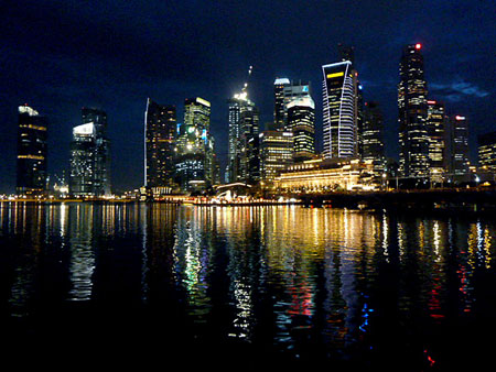 The night skyline of the Financial Centre in downtown Singapore.