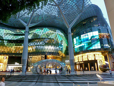 A spectacular facade at the Ion Orchard shopping mall on Orchard Road, Singapore.