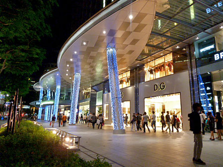 Just one of many shopping centers on Orchard Road, Singapore.