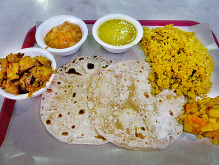 My meal from Sri Sagar Vegetarian at Lau Pa Sat, Singapore.