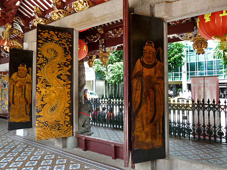 A couple of beautiful doors at the Thian Hock Keng Temple in Chinatown, Singapore.