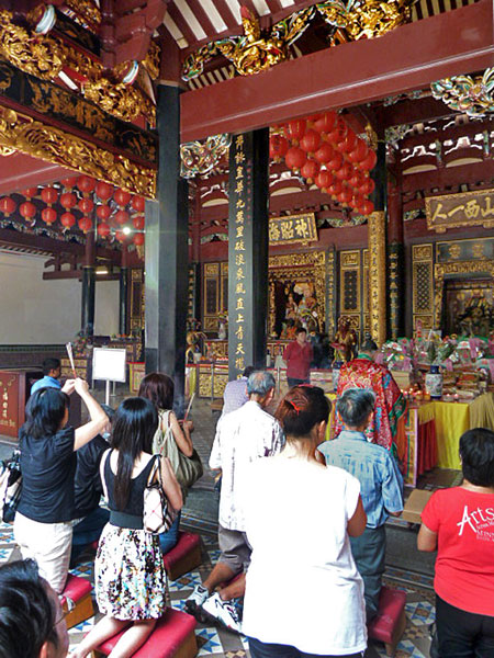 A prayer service at the Thian Hock Keng Temple in Chinatown, Singapore.