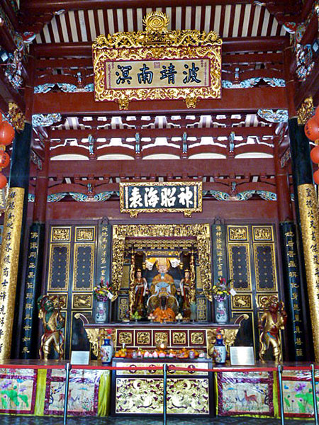 A huge shrine for Buddha at the Thian Hock Keng Temple in Chinatown, Singapore.
