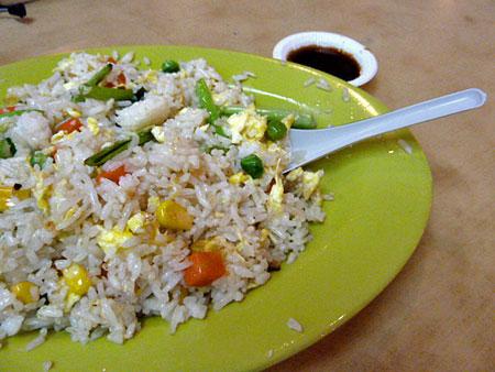 Fried rice at a food stall in Chinatown, Kuala Lumpur, Malaysia.