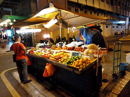 A fruit stand in Chinatown, Kuala Lumpur, Malaysia.