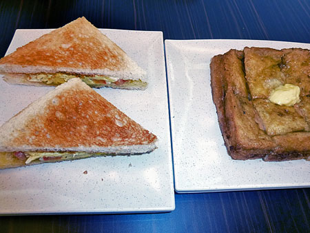 Grilled cheese and French toast with peanut butter in Chinatown, Kuala Lumpur, Malaysia.