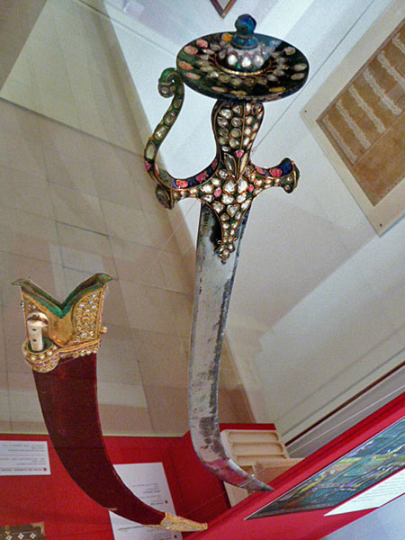 A bejewelled Indian Mughal sword at the Islamic Arts Museum Malaysia in Kuala Lumpur.