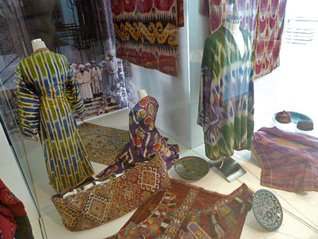 A display of colorful textiles at the Islamic Arts Museum Malaysia in Kuala Lumpur.