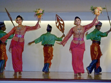 A traditional Malaysian dance performance at the KL Tower Cultural Village in Kuala Lumpur, Malaysia.