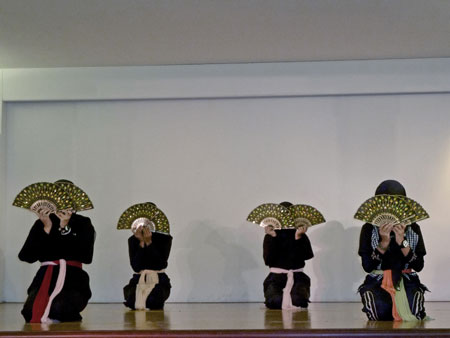 A Muslim fan dance performance at the KL Tower Cultural Village in Kuala Lumpur, Malaysia.