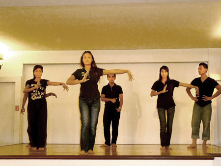 A casual dance performance at the KL Tower Cultural Village in Kuala Lumpur, Malaysia.