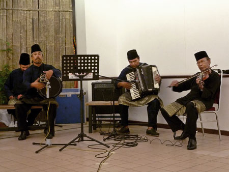 A traditional Malaysian music performance at the KL Tower Cultural Village in Kuala Lumpur, Malaysia.