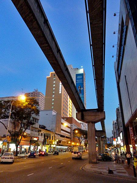 The KL Monorail tracks near the Chow Kit market in Kuala Lumpur, Malaysia.