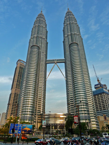 The Petronas Towers, seen here as they get ready to go out in Kuala Lumpur, Malaysia.
