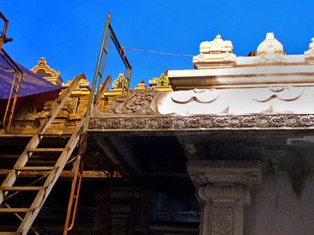 Renovations underway at the Sri Maha Mariamman Temple in Chinatown, Kuala Lumpur, Malaysia.