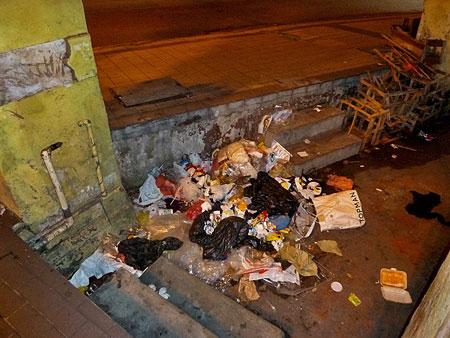 A trashy corner in Chinatown, Kuala Lumpur, Malaysia.