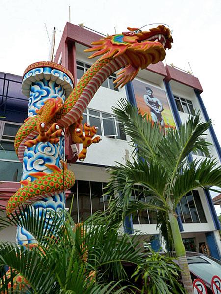 A fierce dragon in Chinatown, Melaka, Malaysia.