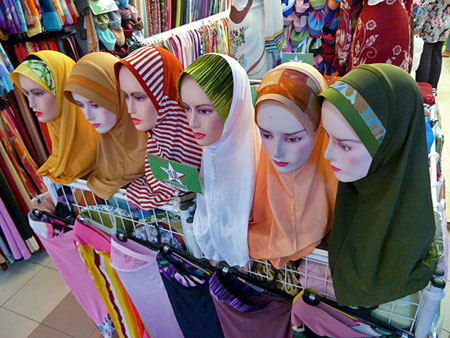 Colorful Muslim headscarves for sale at Melaka Sentral bus terminal in Malaysia.