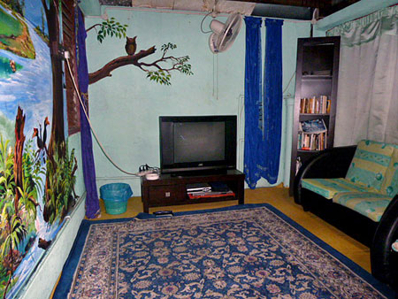 The handsome TV room at Shirah's Guest House in Melaka, Malaysia.