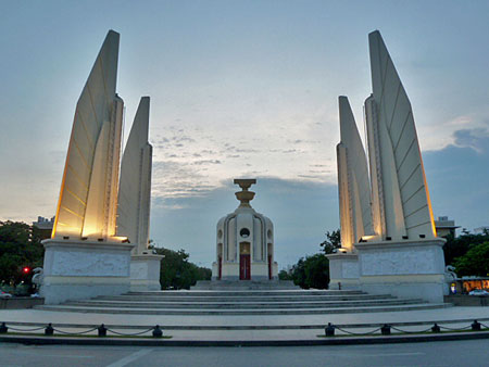 The Democracy Monument in Banglamphu, Bangkok, Thailand.