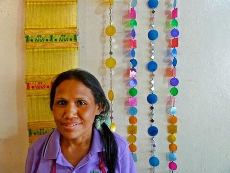 Noi, a cook and waitress at May Kaidee's in Banglamphu, Bangkok, Thailand.
