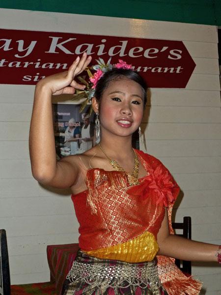 A little traditional Thai dance at May Kaidee's in Banglamphu, Bangkok, Thailand.