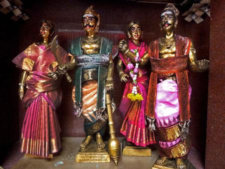Four Hindu Gods at the Sri Mariamman Temple in Bangkok, Thailand.