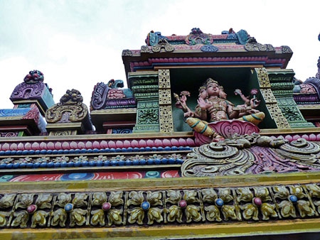 A roof detail at the Sri Mariamman Temple in Bangkok, Thailand.