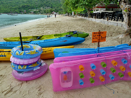Rafts for rent at Ao Loh Dalum bay on Ko Phi Phi Don, Thailand.