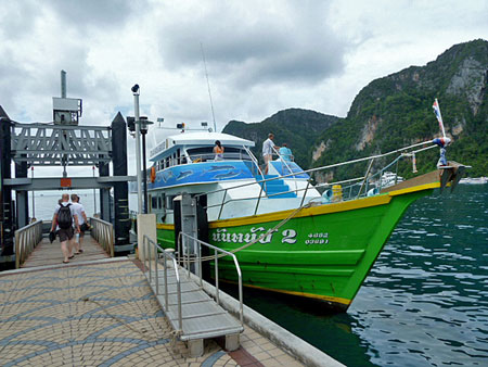 Boarding the boat for a snorkeling tour of the Phi Phi islands, Thailand.