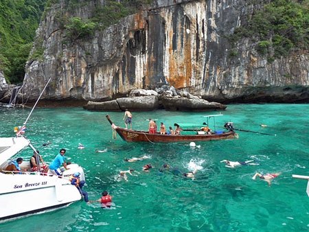 Loh Samah Bay offers superb snorkeling on Ko Phi Phi Leh, Thailand.