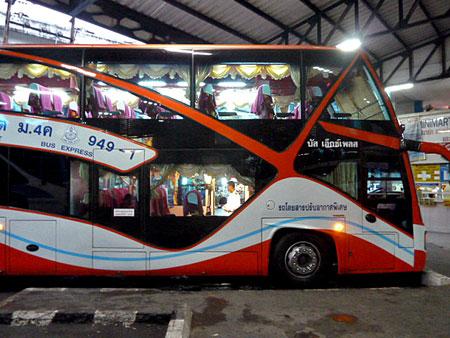 A double decker bus in Phuket Town, Thailand heading for Bangkok.