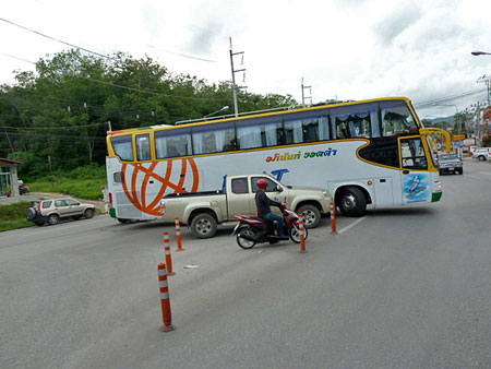 Oops! All lined up in a fender bender outside of Patong, Phuket, Thailand.