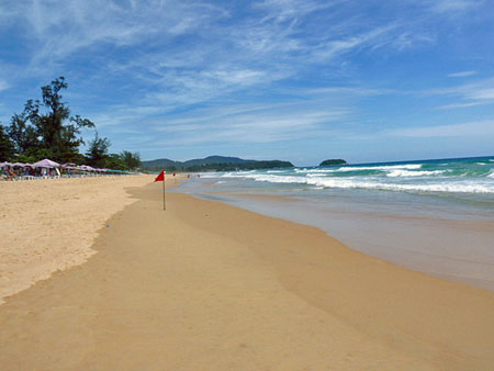 Looking down beautiful Karon beach in Phuket, Thailand.