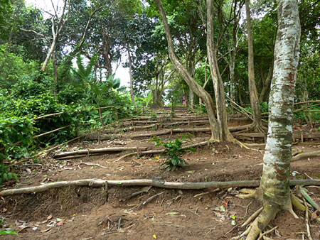 Further up the rustic dirt stairs at Laem Singh, Phuket, Thailand.