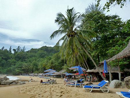 A wide beach view at Laem Singh, Phuket, Thailand.