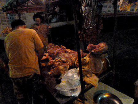 A slaughterhouse right on the street. How convenient! Phuket Town, Thailand.