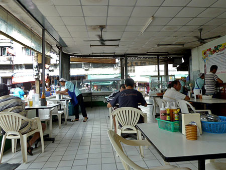 I enjoyed a plate of stir-fry at this open air cafe in Phuket Town, Thailand.