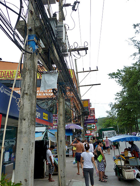 Electrical wire madness in Patong, Puket, Thailand.