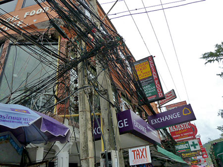 Electrical wire madness, take two, in Patong, Phuket, Thailand.
