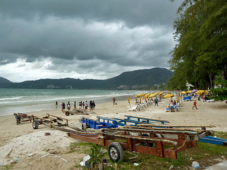 A windswept, overcast day in Patong, Phuket, Thailand.