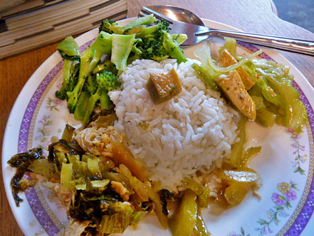 Rice and veggies for a late lunch in Phuket Town, Thailand.