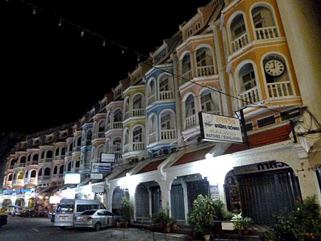 A row of 19th century Sino-Portuguse shophouses in Phuket Town, Thailand.