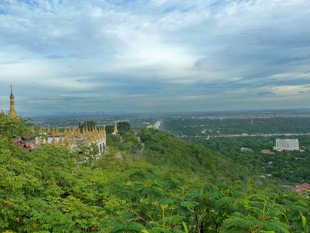 A view of the city from Mandalay Hill, Myanmar.