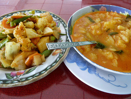 Vegetable and potato curry at Marie Min in Mandalay, Myanmar.